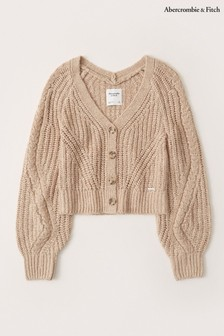 Abercrombie & Fitch Short Tan Cardigan
