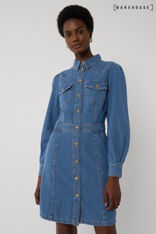 Warehouse Blue Western Mini Denim Dress