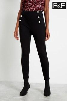 F&F Black Button Ponte Trousers