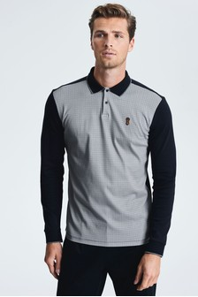 Long Sleeve Dogtooth Print Polo
