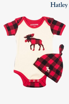 Hatley Cream Plaid Moose Baby Bodysuit & Hat