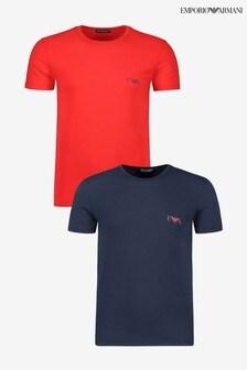 מארז שתי חולצות טי של Armani בכחול כהה/אדום