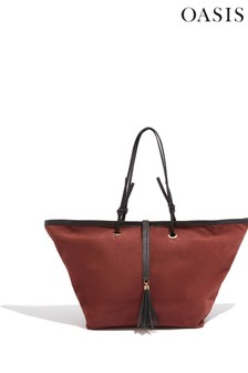 Oasis Natural Leather Tassel Tote Bag