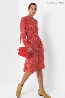 Mix/Cefinn Dot Print Shirt Dress