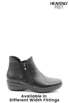 Heavenly Feet Black Ladies Ankle Boots