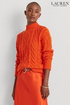 Lauren Ralph Lauren® Orange Cable Knit Tarvacia Jumper