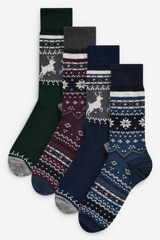 Heavyweight Fairisle Pattern Socks Four Pack