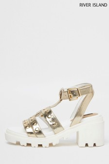 River Island Gold Studded Strap Chunky Sandals
