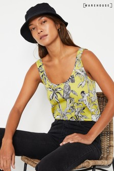 Warehouse Yellow Jungle Print Vest Top