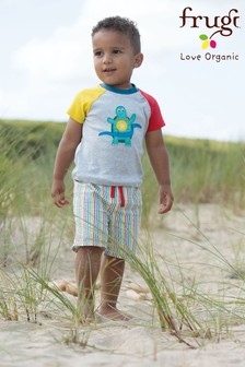 Frugi Grey Organic T-Shirt With Contrast Sleeves And Sporty Turtle Appliqué