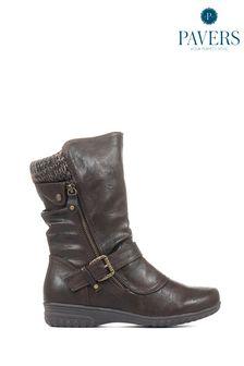 Pavers Brown Ladies Calf Boots