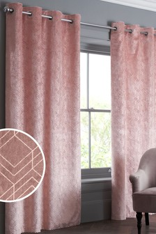 Velvet Metallic Geo Eyelet Lined Curtains