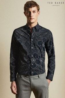 Ted Baker Blue Gogirl Cotton Floral Print Shirt