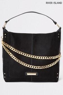 River Island Black Asymmetric Chain Front Slouch Handbag