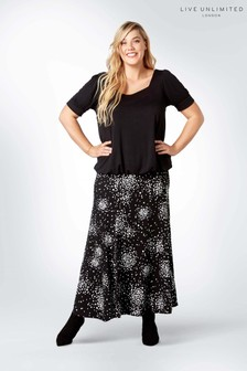 Live Unlimited Black Spotted Jersey Skirt