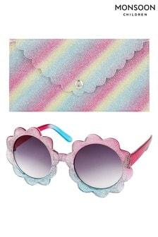 Monsoon Ombre Glitter Flower Sunglasses & Case