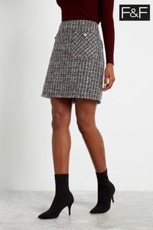 F&F Black Camel Bouclé Skirt