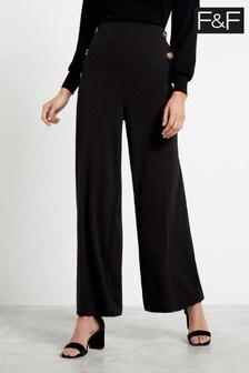 F&F Black Button Wide Leg Trousers