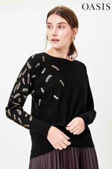 סוודר של Oasis דגם Fiona Feather בשחור