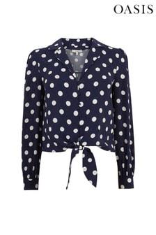 Oasis Gepunktetes Hemd mit Bindedetail vorn, Blau
