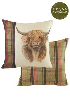 Hunter Highland Cow Tartan Cushion by Evans Lichfield