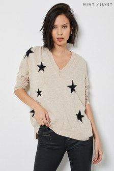 Mint Velvet Beige Star Boxy V-Neck Jumper