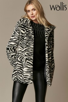 Wallis Monochrome Animal Print Faux Fur Coat