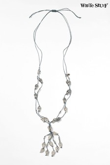 White Stuff Cord & Heart Lariat Necklace