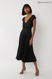 Warehouse Black Cowl Back Pleated Midi Dress