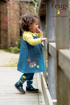 Frugi Organic Blue Linen Dress With Rabbit Appliqué