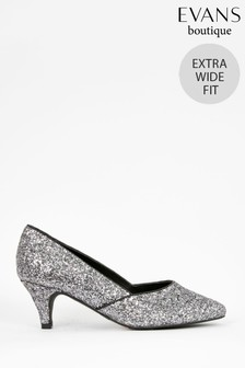 Evans Extra Wide Fit Silver Glitter Heeled Court Shoes