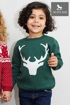 The Little Tailor Green Christmas Reindeer Jumper
