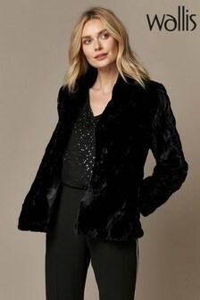 Wallis Black Shor Textured Faux Fur Coat