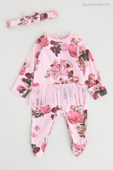 Angel & Rocket Pink Floral All-In-One With Tutu & Headband