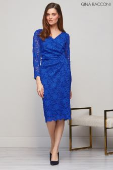 Gina Bacconi Blue June Floral Lace Dress