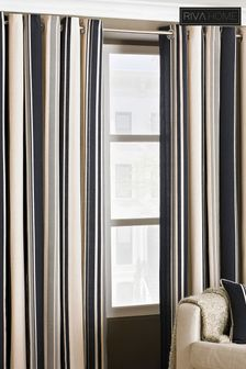 Broadway Stripe Eyelet Curtains by Riva Home