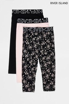 River Island Black Floral Leggings 3 Pack