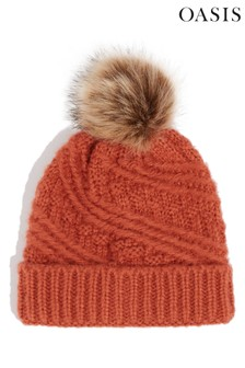 Oasis Orange Carrie Cable Pom Beanie