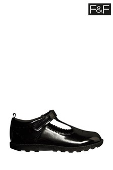 F&F Black Patent T-Bar Shoes