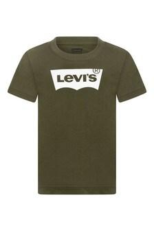 Boys Khaki Cotton Batwing Logo T-Shirt