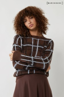 Warehouse Brown Brushed Check Jumper