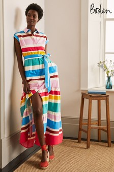 Boden Blue Betty Maxi Shirt Dress