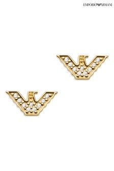 Emporio Armani Gold Tone Sterling Silver Diamanté Earrings