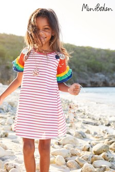 Mini Boden Pink Flutter Sleeve Jersey Dress