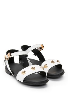 Versace Girls White Leather Sandals