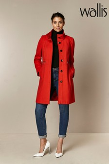 Wallis Red Faux Wool Zip Pocket Coat