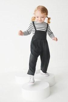 Denim Playsuit And Long Sleeve T-Shirt Set (3mths-7yrs)