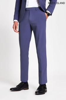 River Island Blue Medium Skinny Suit Trousers