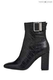 Tommy Hilfiger Black Croco Look Ankle Boots