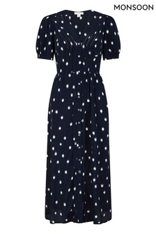 Monsoon Blue Spot Print Sustainable Midi Dress